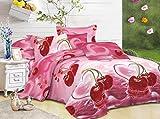 CUSHIONMANIA Housse de Couette 3D Parure de lit avec Housse de Couette 3pcs Animal Fleurs de Rose 55g/m² Neuf (King Size, Cerise)