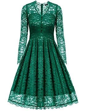 Gigileer Eleganti Donna in Pizzo Vestito Vestiti Abito Festa manica lunga f387212a271