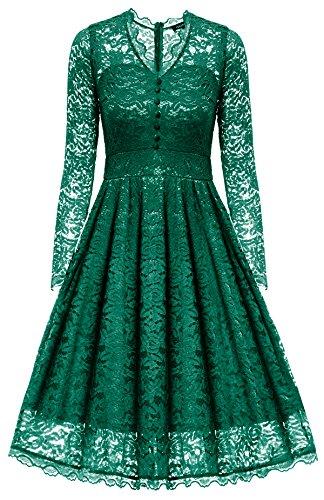 Gigileer Elegante 50s Damen Spitze Langarm Kleid Swing Abendkleid Party Hochzeit (M(DE 38-40), Grün) (Party Kleid Hochzeit Abendkleid)