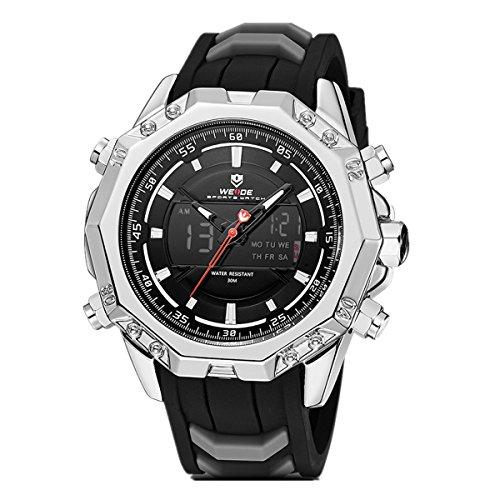 Weide Herren-Armbanduhr Sport Analog Quarz Digital Outdoor Militär, Rubber Strap, Kalender, Chronograph (Silber/Schwarz)