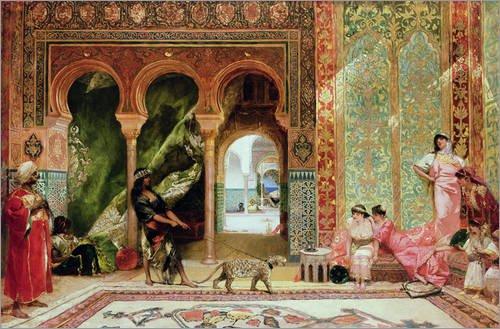 Leinwandbild 130 x 90 cm: Marokkanischer Palast von Constant / Bridgeman Images - fertiges Wandbild, Bild auf Keilrahmen, Fertigbild auf echter Leinwand, Leinwanddruck