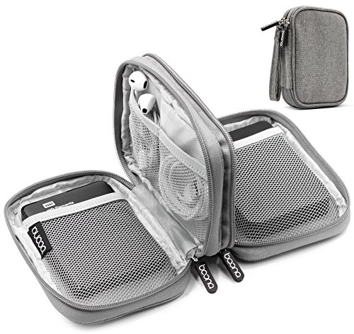 Baona Oxford Dual Double Layer Festplatte 2,5 Zoll Gehäuse, Festplattentasche Stoßfeste Tragetasche (grau)