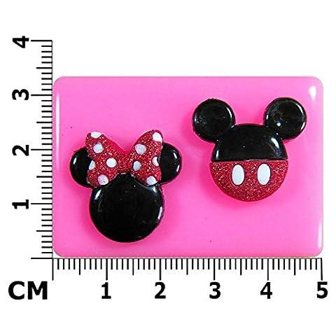 Mickey et Minnie Mouse Face Moule en Silicone pour décoration de gâteau/Cupcake Toppers Décoration de gâteaux glaçage pâte à sucre Par les fées Blessings outil