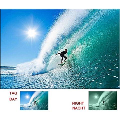 Startonight Lienzo surfista en la ola perfecta, diseño de Estados Unidos de playa para decoración del hogar, Dual View sorpresa arte moderno enmarcado listo para colgar de pared Art 31,5x 47.2inch 100% original Arte Pintura.