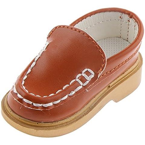 Muñeca Fashion Par de Deslizamiento Zapatos de Cuero PU Mocasines Barco para 1/3 BJD - Marrón