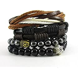 Streetsoul Multicolor Leather Buddha Bead Charm Bracelet For Men