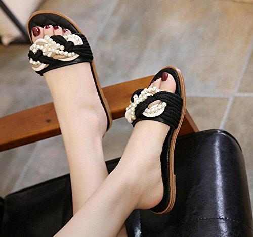 Laufsteg-Modelle in Europa und Amerika kleinen duftenden Wind Bindfäden Perlenkette flachen Pantoffel Black