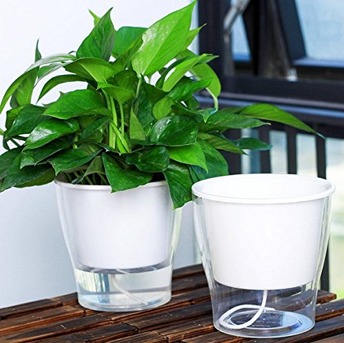Lazy automatic suction plant pots,for your garden planting White W09 (L17.5*H17.5cm)