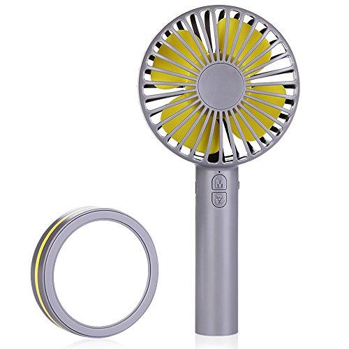 Idealife Mini Ventilator tragbarer leiser Ventilator USB-batteriebetriebener Handventilator mit 3 einstellbaren Geschwindigkeiten für Desktop, Zuhause, Büro, Reisen, Grau