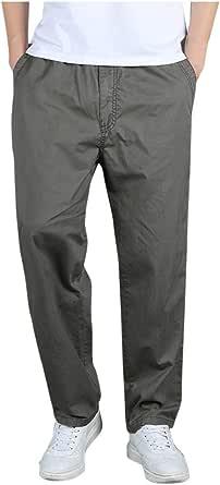 SANFASHION Men Trousers Slim Fit Comfortable Cotton Blend Elasticated Waist Workwear Casual Smart Cargo Combat Loose Breathable Pants
