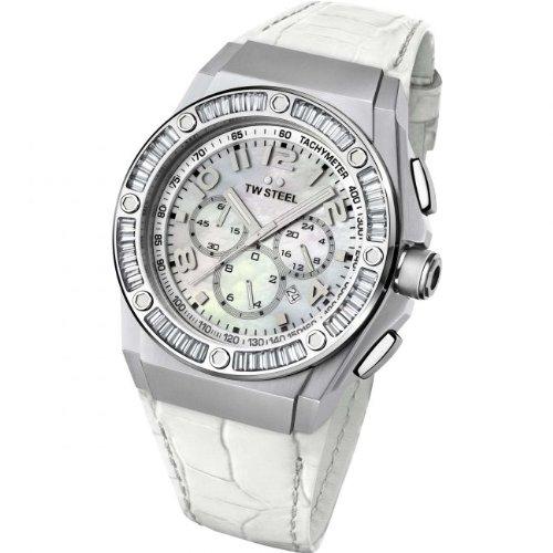 TW Steel Damen-reloj 44 mm pulsera blanca de piel de cerdo carcasa de acero inoxidable cronógrafo de cuarzo CE4015