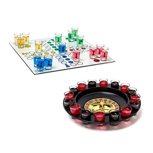 2 tlg Trinkspiele Set, Drinking Ludo, Trink-Roulette, Saufspiel, Party-Spiel, Schnaps-Roulette, Erwachsene, je 16 Gläser