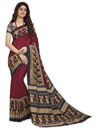 Vipul Maroon Crepe PRINTED Saree With Blouse Piece
