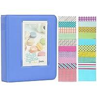 Anter Ablus 64 Pockets Instax Mini Álbum de Fotos para Fujifilm Instax Mini 8 8+ 9 7s 25 26 50s 70 90 Cámara Instantánea y Tarjeta de Nombre con 20 Pegatinas PCS - Azul Cobalto
