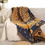 Monba Spring Fever Strickdecke für Stuhl, Sofa und Bett, Sofa/Sessel, Tagesdecke, warm gewebter Schonbezug, gelb, 90 * 180cm