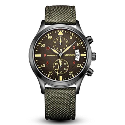 Megir militaire pour homme chronographe Vert armée Sports montres à quartz avec calendrier + Gorben Box