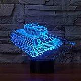 Serbatoi 3D Night Light Touch Base 7 colori cambianti Lampada da tavolo a led 3D Visual Home Decor Atmosfera Lampada per bambini Giocattolo regalo