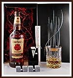 Geschenk Four Roses Whiskey 4 Kühlsteinen im Smoking + 1 Nachtmann Glas, kostenloser Versand