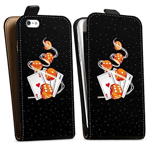 Apple iPhone X Silikon Hülle Case Schutzhülle Würfel Herz Karten Downflip Tasche schwarz