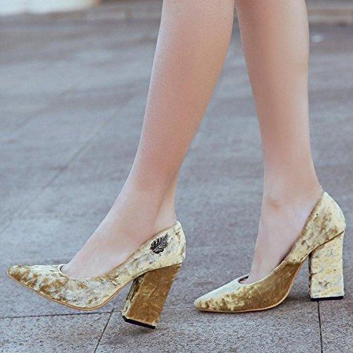 COOLCEPT Femmes Mode Bloc Talon hauts Slip On Pointue Court Chaussures For Date Jaune