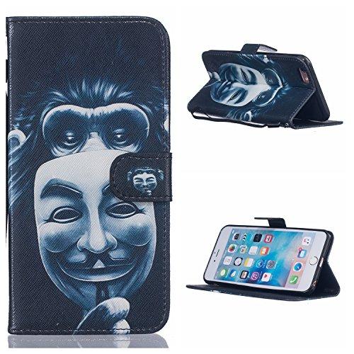 Voguecase® Pour Apple iPhone 7 4,7 Coque, Etui Housse Cuir Portefeuille Case Cover (Fille Masked)de Gratuit stylet l'écran aléatoire universelle masque de gorille
