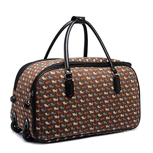 LeahWard® Mittlere Größe Reisetasche Handgepäck Wagen Wochenendeleicht zu EndeAusgehabend Tasche mit Rads D. Braun CAT