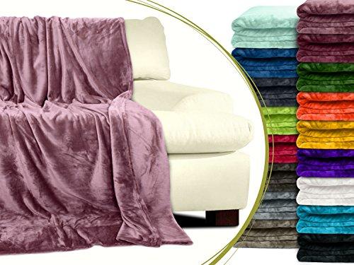 Premium-Microfaser-Flauschdecke - 17 fantastische Farben - 3 Komfortgrößen - federleicht & kuschelweich - zu Hause & auf Reisen, 220 x 240 cm, altrosa