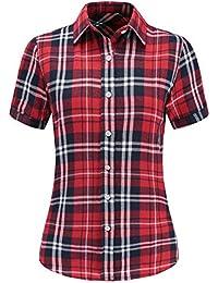 Dioufond Camisas Mujer Cuadros Manga Corta Camisas Mujer de Vestir Fiesta Atractivo
