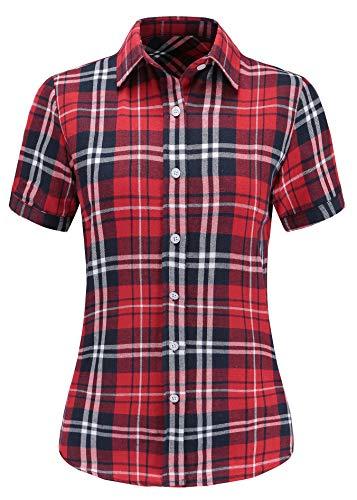 Dioufond Camisas Mujer Cuadros Manga Corta Camisas Mujer de Vestir Fiesta Atractivo(Rojo L
