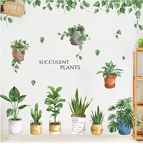 Green Leaf Bonsai Topfblumen Pflanzen Wandaufkleber Dekorative Aufkleber Wohnkultur Küchenfenster Wohnzimmer Dekor Aufkleber 60 * 90 Cm