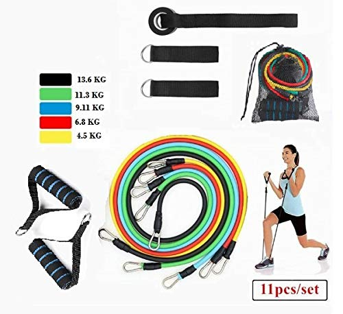 GOCART WITH G LOGO Resistance Bands, Exercise Bands Include 5 Different Levels Exercise Bands, Door Anchor, Foam Handles, Ankle Straps and Carrying Bag for Workout
