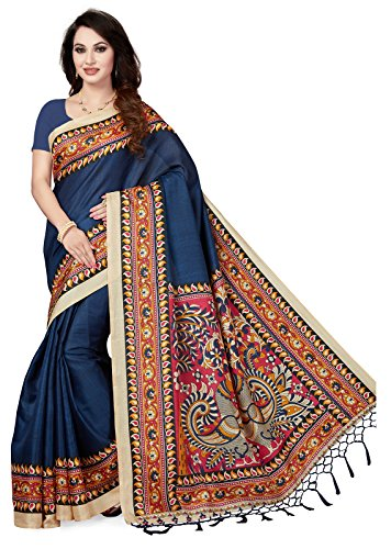 Ishin Art Silk Navy Blue Printed Women\'s Saree/Sari With Tassels