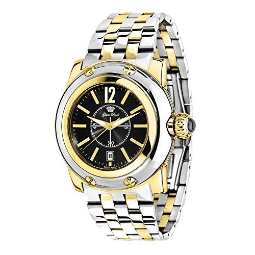 Glam Rock Women's Summer Time 40mm Gold Plated Bracelet & Case Swiss Quartz Black Dial Watch GR40054