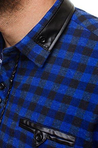 OZONEE Camicia Slim Fit Uomo Colletto alto ZAZZONI 944 Blu scuro