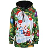 FORH Damen Weihnachten langarm Hoodie Sweatshirt Weihnachtsmann Schneemann Drucken Kapuzenpullover Wintermantal Übergroß Hoodies jacke Outwear Tops (Grün, XL)
