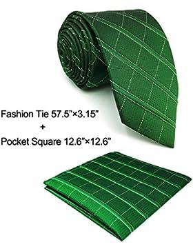shlax&wing Classic Dark Verde único Checkes Corbatas Para Hombres Seda Tie Corbata Flaca Extra Largo Traje de...