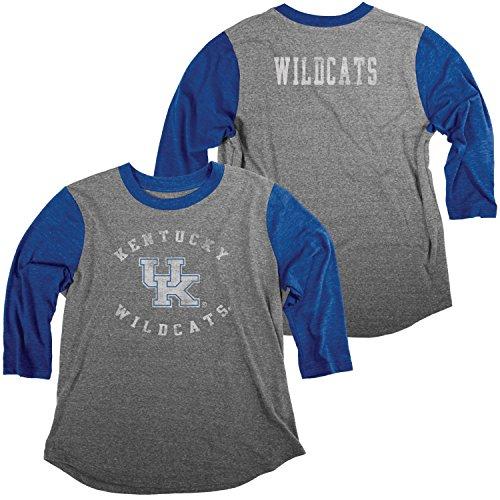 NCAA Kentucky Wildcats Damen Tri Blend Baseball T-Shirt, Small, Heather/Royal -