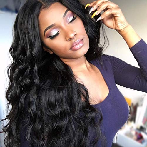 Human Hair Wigs for Women Full Lace Wig 100% Real Human Hair Lange Remy Echthaar Perücke Körperwelle 130% Dichte Remy Hair Bleached Knots Free Part Schwarz 26 zoll