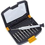 PRETEX Mini Schraubendreher-Set für kleine Schrauben mit 10 Wechsel-Einsätzen, inklusive praktischer Aufbewahrungsbox | 2 Jahre Zufriedenheitsgarantie | Aufsätze: Schlitz (SL 1.5, SL 2.0), Kreuz-Schlitz (PH000, PH00), Torx (T4, T5, T6) und Pentalob (0.8, 1.2, 1.6) | Bit-Set, Torque-Set, Kreuzschlitz-Set, Präzisions Mini-Schraubendreher