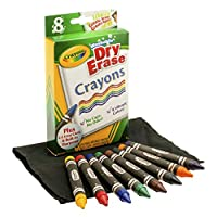 Crayola Dry Erase Crayons Washable, Assorted, 8 per Pack