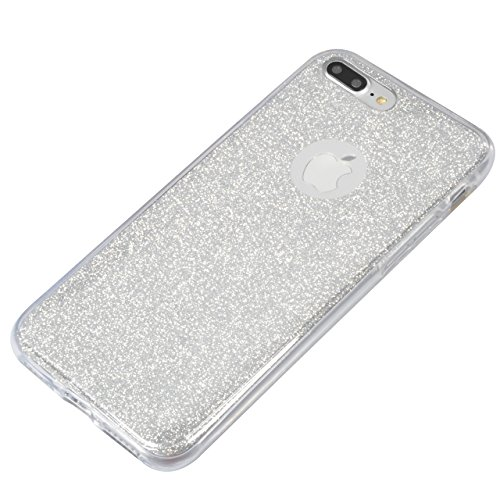 Case per iPhone 7 Plus,Cover per iPhone 7 Plus ,Bonice Ultra Slim Diamante Bling Specchio Glitter Lusso Cristallo Strass Morbida Rubber Bumper 360 Gradi [Rotazione Grip Ring Kickstand] con Supporto De Two pieces - 04