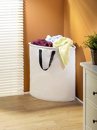 Wenko 3440006100 Eck-Wäschesammler Stone - Wäschekorb, Fassungsvermögen 75 L, Kunststoff - Polyester, 55 x 60 x 40 cm, Beige - 2