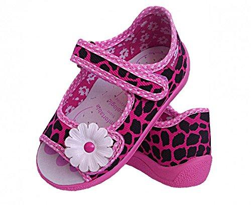 Klettverschluss Sandalen Schwarz Mädchen Baby Hausschuhe Blume Pink Renbut Innensohle Leder pHxAqBOnn