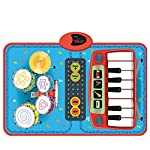 Music Mat, Foxom 2-in-1 Piano and Drums Music Playmat for Kids Touch Play Keyboard Mat with 2 Drumsticks