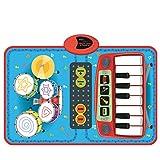 Tappeto Musicale, Likeluk Tappeto Musicale per Bambini set 2en1 Pianoforte e Batteria - Tappeto Giochi Elettronici Include Bastoni
