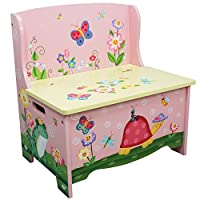 Fantasy Fields - Magic Garden Themed Kids Storage Bench | Hand Crafted & Hand Painted Toy Storage Unit Toybox | Child Friendly Water-Based Paint