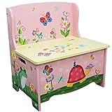 Banc de rangement meuble en bois boîte coffre à jouets enfant fille TD-11644A