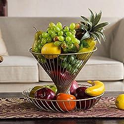 Deux étages multi-couches panier de fruits de salon créatif de fruits de la mode plaque moderne minimaliste fruits caramel de fruits panier de stockage de fruits (Couleur : Champagne)
