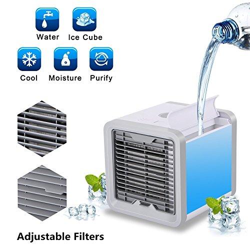 Klimaanlage Ventilator Mini USB Mobile Klimagerät, KACOOL Persönlicher Verdunstender Luftkühler und Luftbefeuchter/Tragbare Klimaanlage Personal Space Air Cooler für Haus, Büro und usw