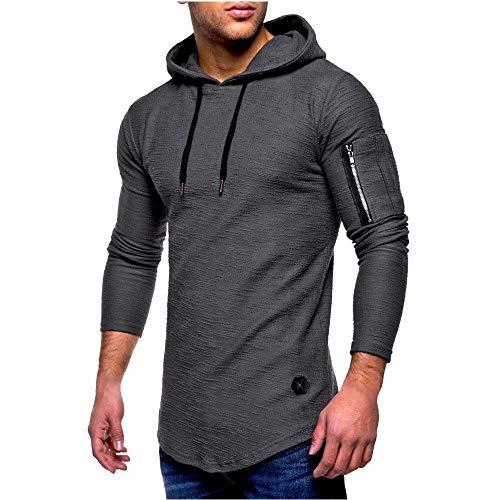 Herren Langarmshirt Modern Tee Mit Sport Tops Einfarbig Sweatshirt Hip Kleidung Hop Hipster Hoodie T Shirt Mit Kapuze (Color : Grau, Size : L)